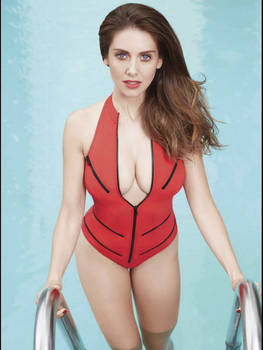 Allison brie red swimsuit