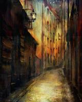 A Quiet Street in Stockholm by Phatpuppyart-Studios