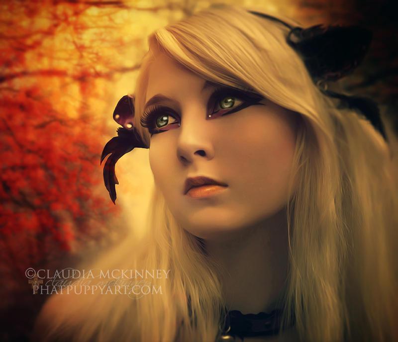 Fawn in Autumn by Phatpuppyart-Studios