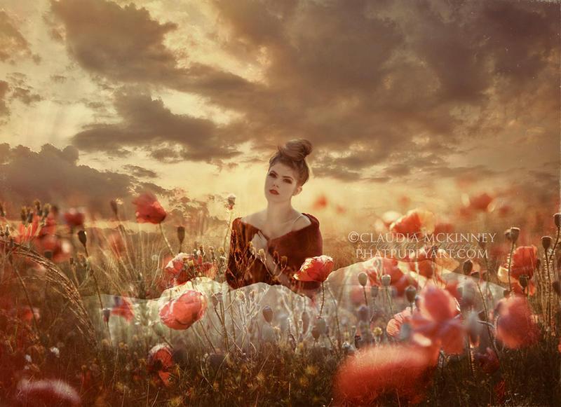 Girl in Field of Poppies by Phatpuppyart-Studios