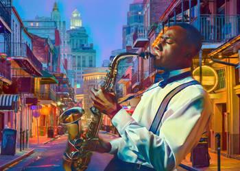 On Bourbon Street by Phatpuppyart-Studios