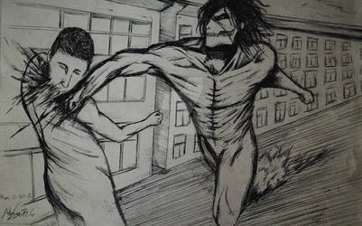 Eren Titan mode fighting by Inkhov