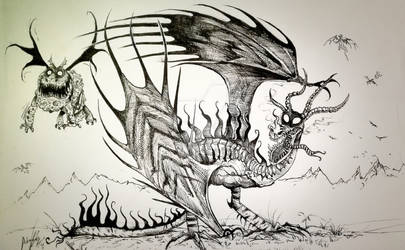 Gronckle and Monstrous Nightmare  Tim Burton style by Inkhov