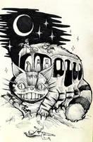 Totoro Nekobasu Catbus Darkart by Inkhov