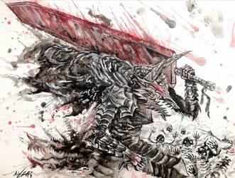 Black Swordsman, Guts, Berserk by Inkhov
