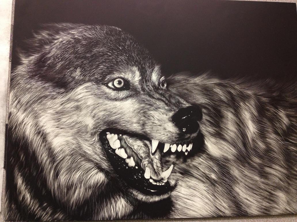 Wolf Scratchboard by pillowpet1997