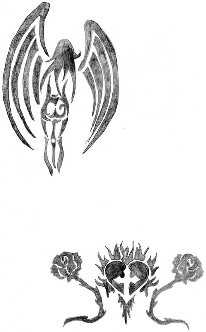 Tribal Angel/Rose Heart by SokoFriedhof on DeviantArt
