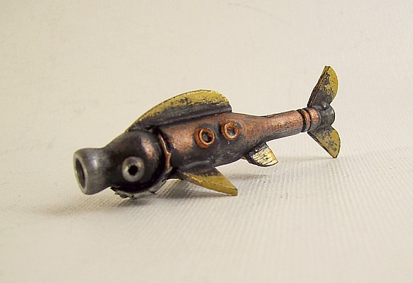 Robot Trout Fish Wood Pendant by buildersstudio