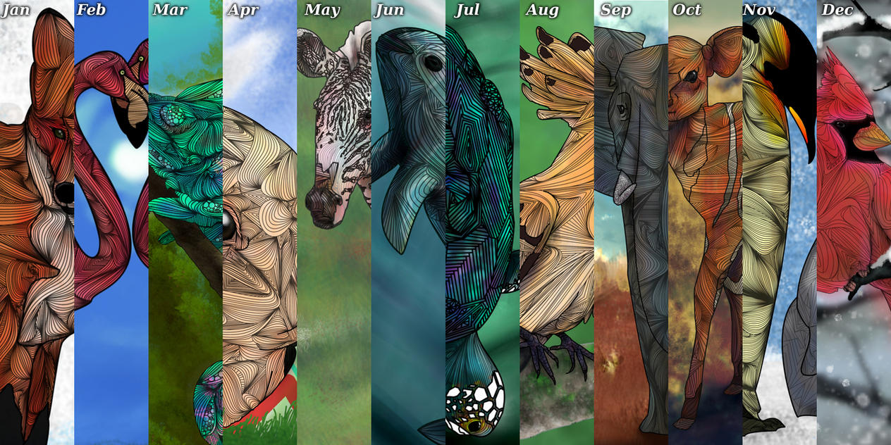 Calendar Abstract Art : Abstract animal calendar by joejoemuh on deviantart