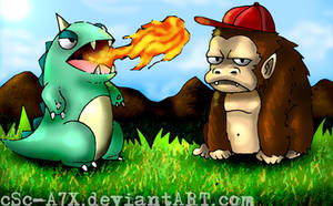 Godzillante and Gorillaimo by hamsterSKULL