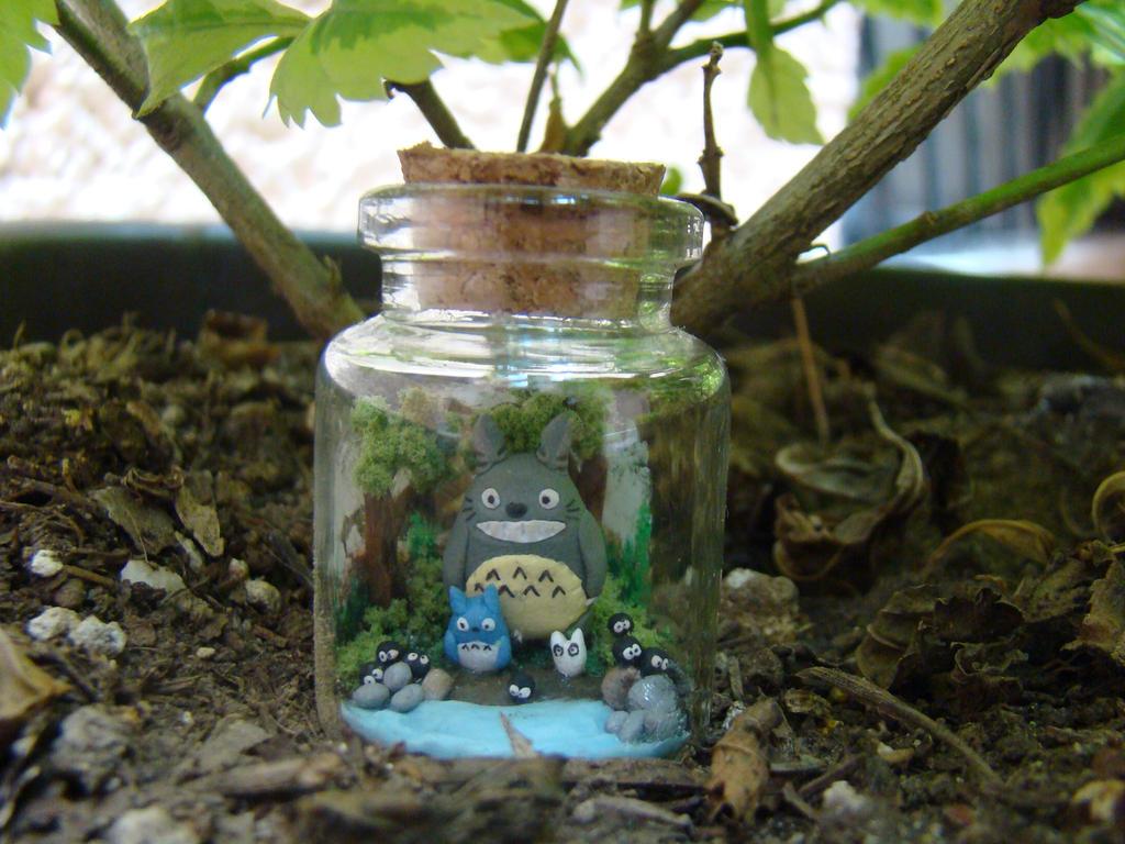 Totoro Bottle Art by hamsterSKULL