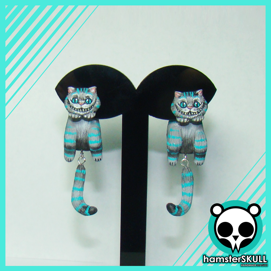 Cheshire Cat Handmade Earrings by hamsterSKULL