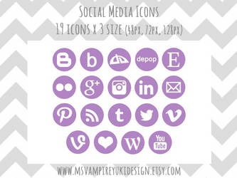 Social Media Icons Set - Purple by MsVampireYuki