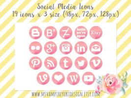 Watercolor Social Media Icons - Pink by MsVampireYuki