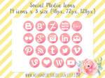 Watercolor Social Media Icons - Pink