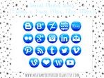 Watercolor Social Media Icons - Ocean Blue