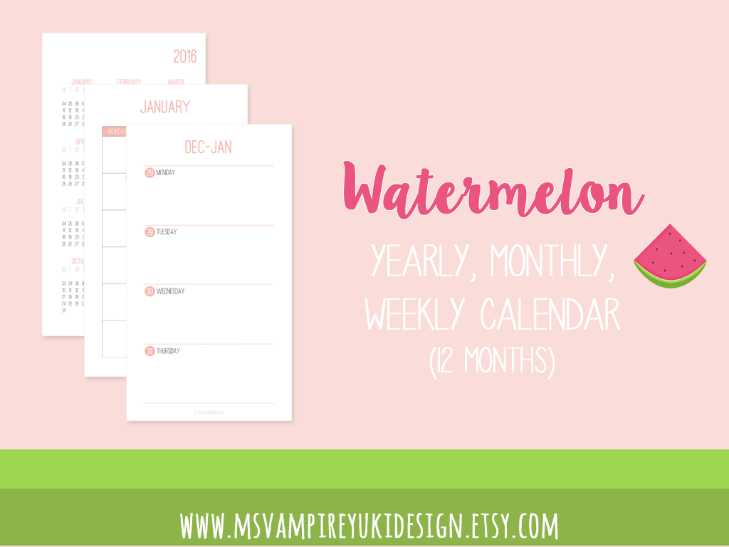 Printable Personal Planner Refill 2016, Watermelon by ...