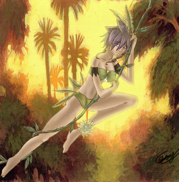Jungle Girl swinging on a vine by yuna-chicky-yummy