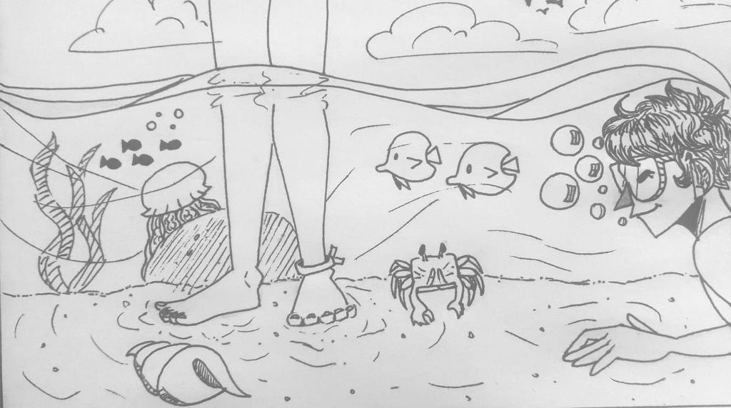 Inktober #4 - Underwater by TheSpiciestRamen