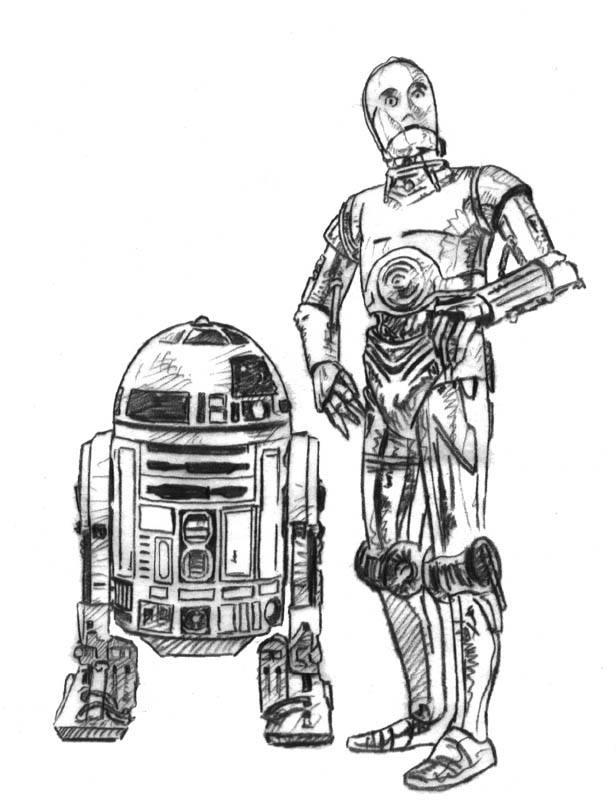 R2d2 And C3po Drawing C3PO and R2D2 Sketch b...