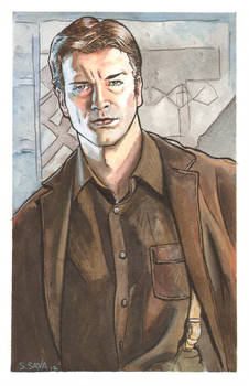 Captain Mal from Firefly Watercolor...