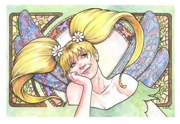 Kiwi the Fairy Art Nouveau Watercolor Painting... by ssava