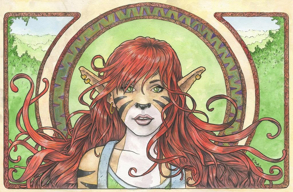 Felicity Art Nouveau Watercolor Painting... by ssava on ...
