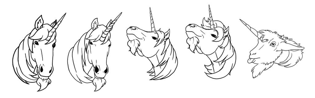 Unicorn heads by RoryRochelle