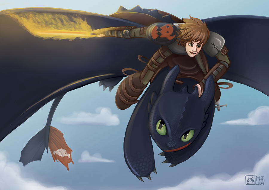 Toothless and Hiccup by Maskelyne