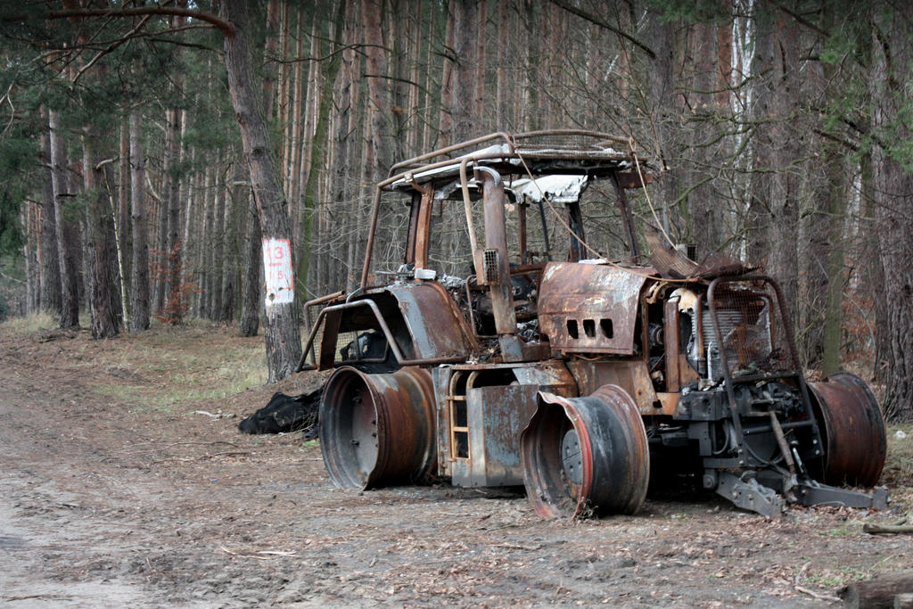 burned tractor postapo by the808track