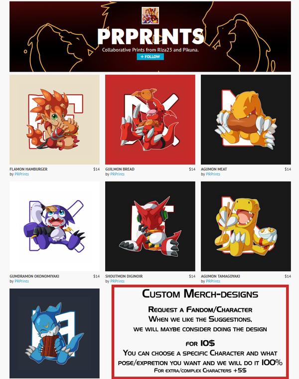 Digimon T-Shirts and Custom Merch Design by Pikuna