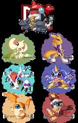 Digimon Chibis - Batch One - by Pikuna