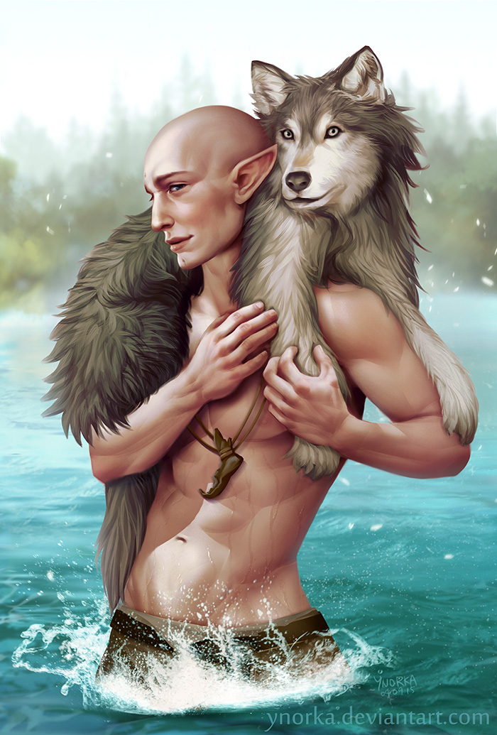 Solas with a wolf by ynorka