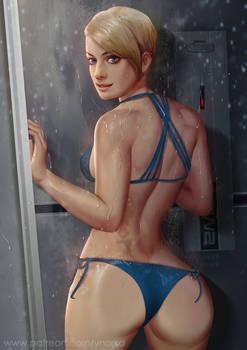 Cora in shower