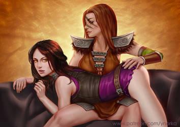 Aela the Huntress x Serana by ynorka