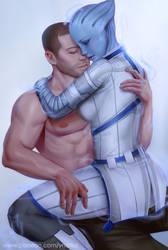 Liara x Shepard by ynorka