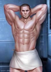 Shepard in shower by ynorka