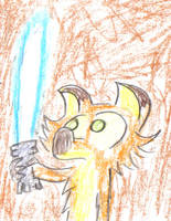 Hywel with a laser sword by TWONIONS