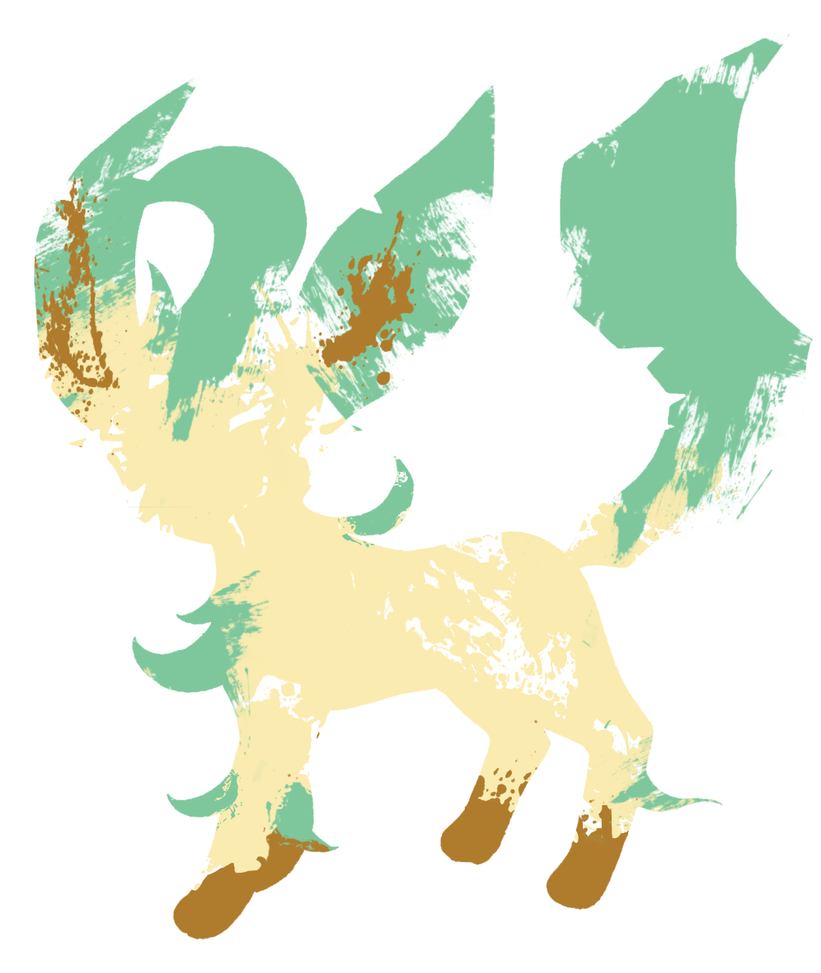 Leafeon Paint Splatter Graphics by HollysHobbies