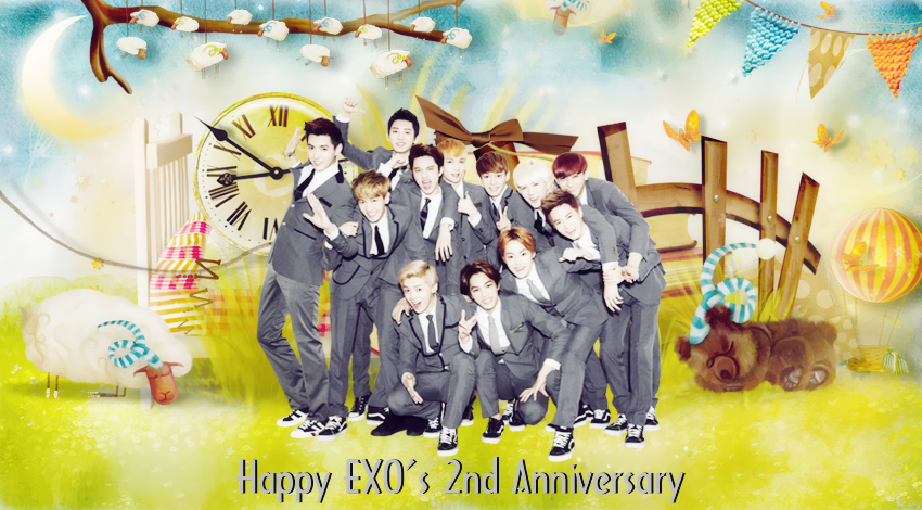 Happy EXO's 2nd Anniversary by yenlonloilop7c