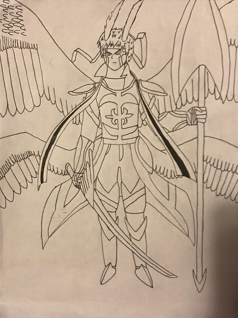 Valor (archangel) lineart  by dragonboy1092