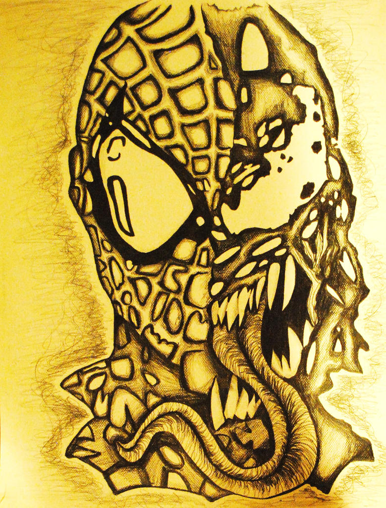 venom spiderman face drawing