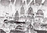 1930's futuristic cityscape