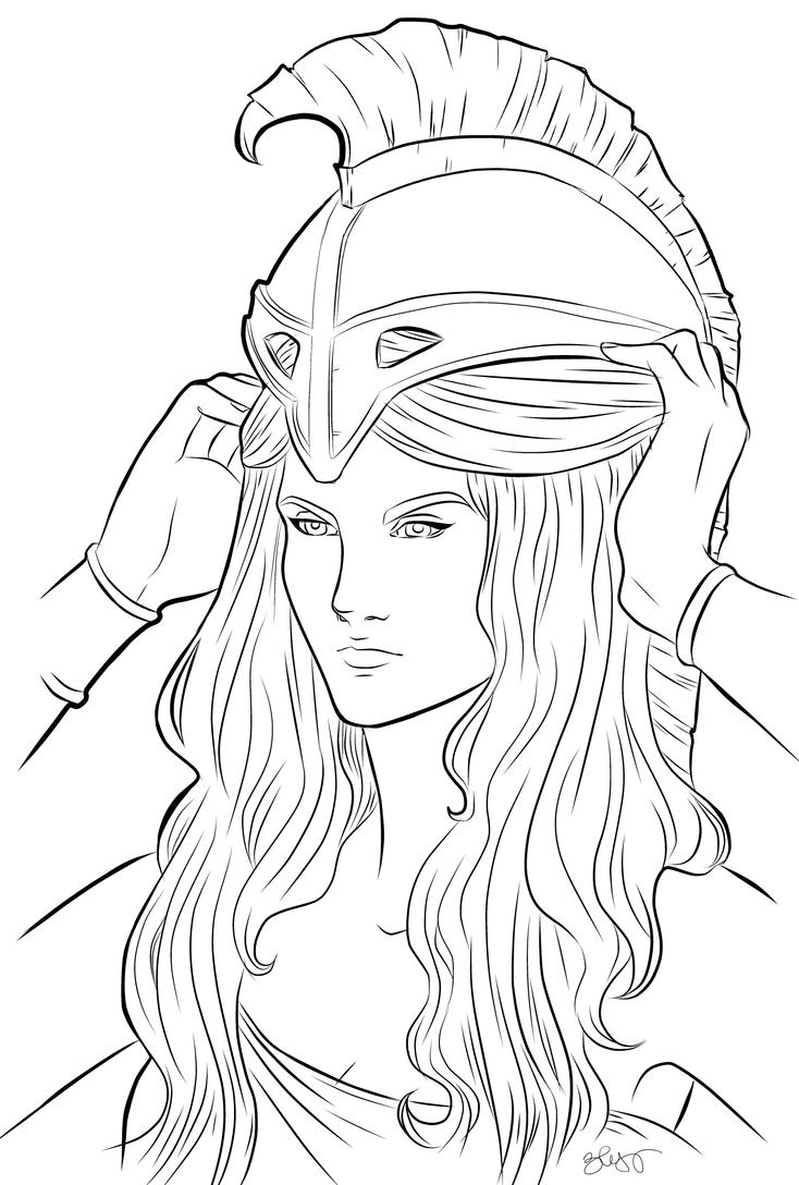 Easy Line Drawing Program : Athena lineart by art eli on deviantart