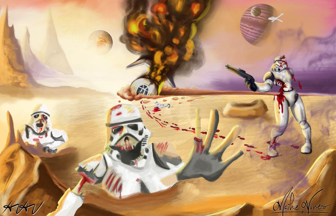 Collab - Fallen Stormtroopers in Desert Planet by MutanoBr