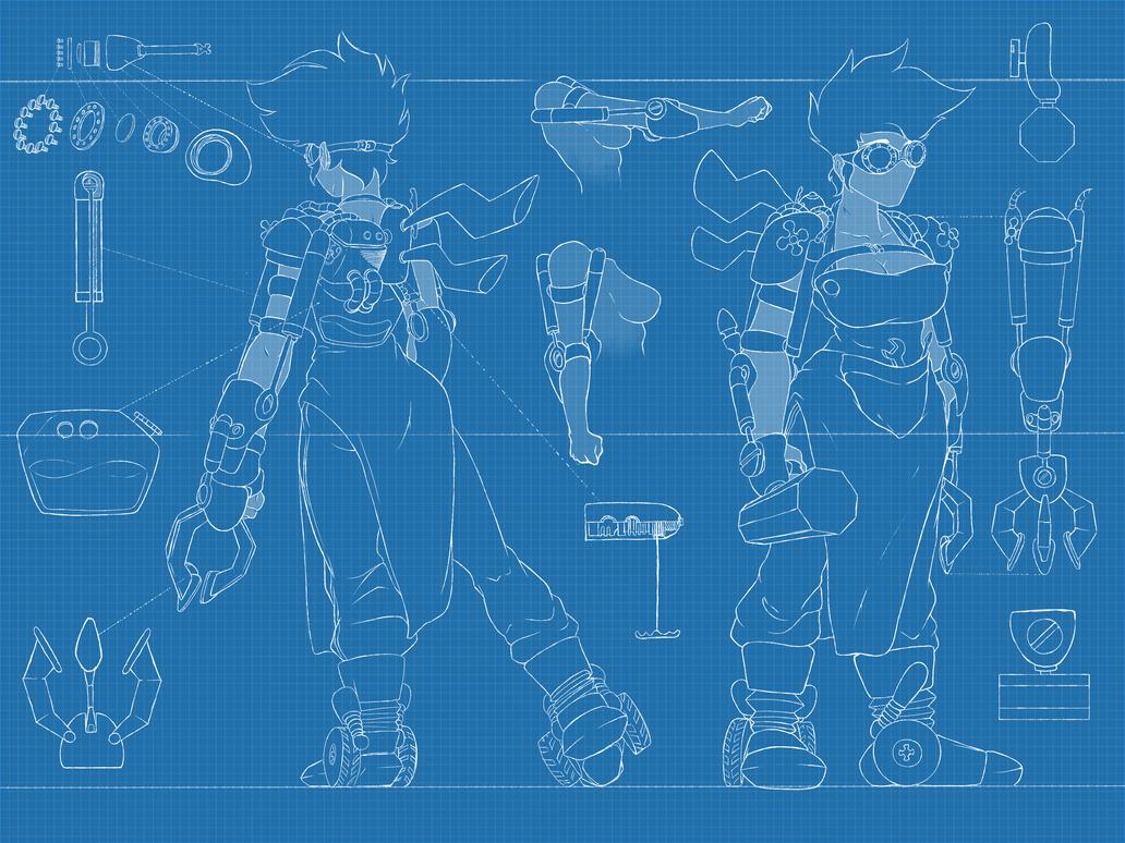 Steampunk Girl Blueprint by HPNerd-ALS