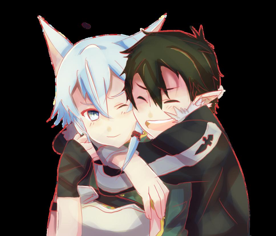 Hug Sinon And Kirito By Pikarty10 On DeviantArt