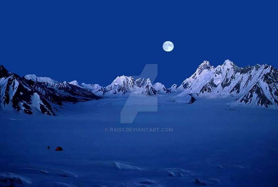 Moon  night in  glacier by RAIS1