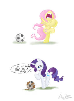 fluttershy and rarity play football