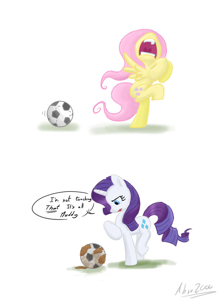 fluttershy and rarity play football by Abrr2000